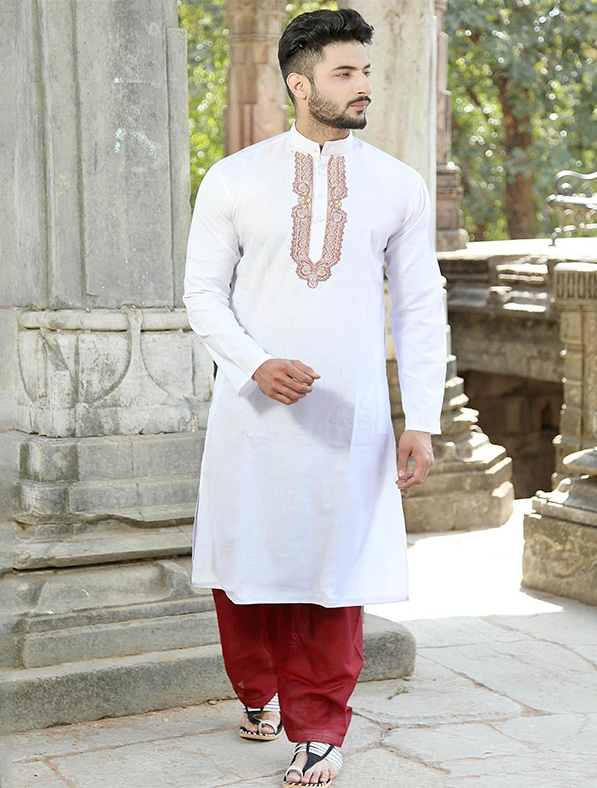 White Cotton Embroidery Kurta Pajama