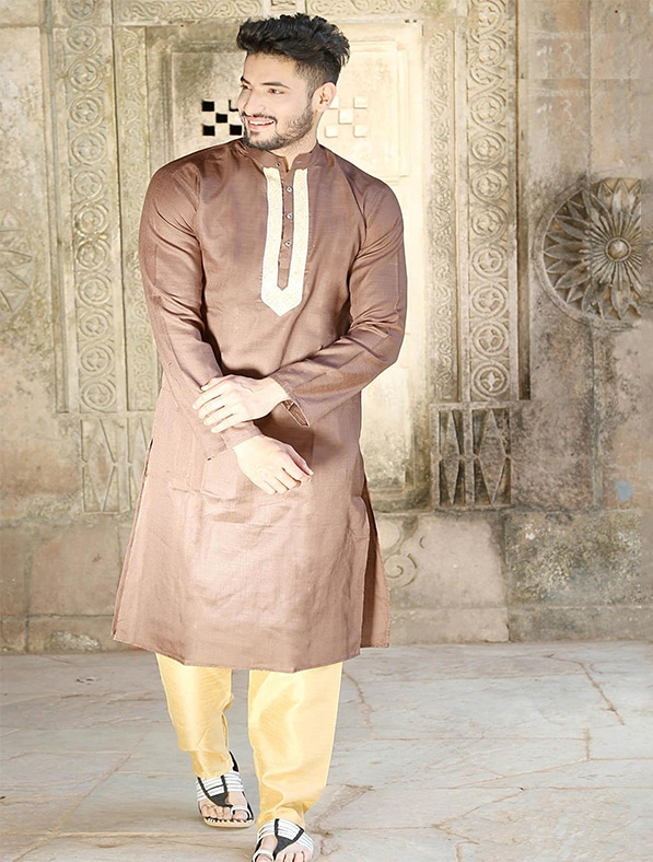 Brown Silk Embroidered Kurta Pajama