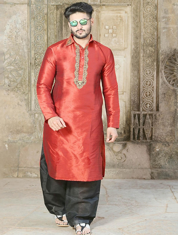 Red Silk Embroidered Kurta Pajama