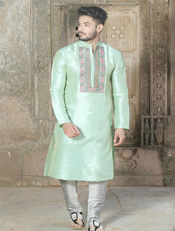 Green Silk Embroidered Kurta Pajama