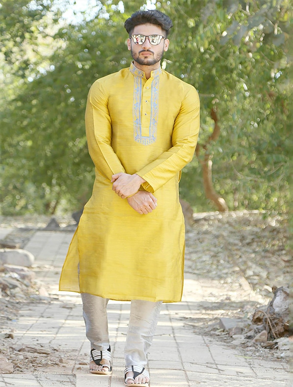 Yellow Silk Embroidered Kurta Pajama