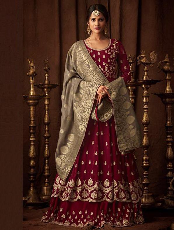 Elegant Georgette Indo Western Gown