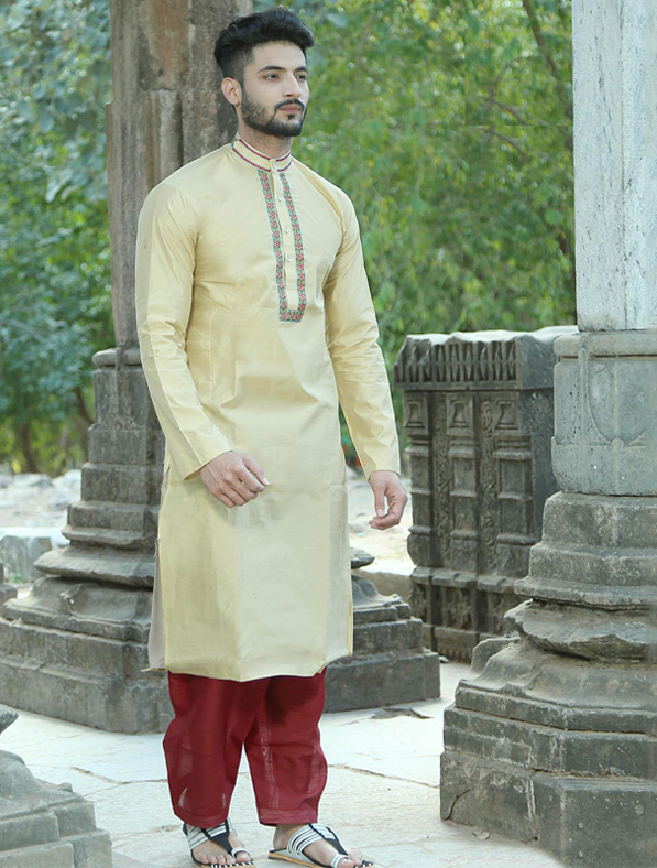 Cream Silk Embroidery Kurta Pajama