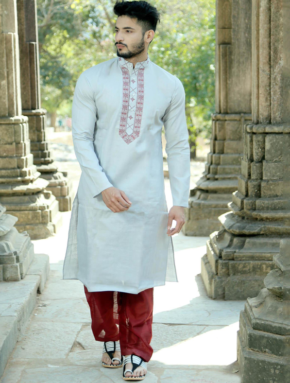 Grey Silk Embroidery Kurta Pajama