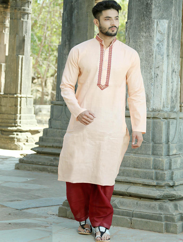 Orange Silk Embroidery Kurta Pajama