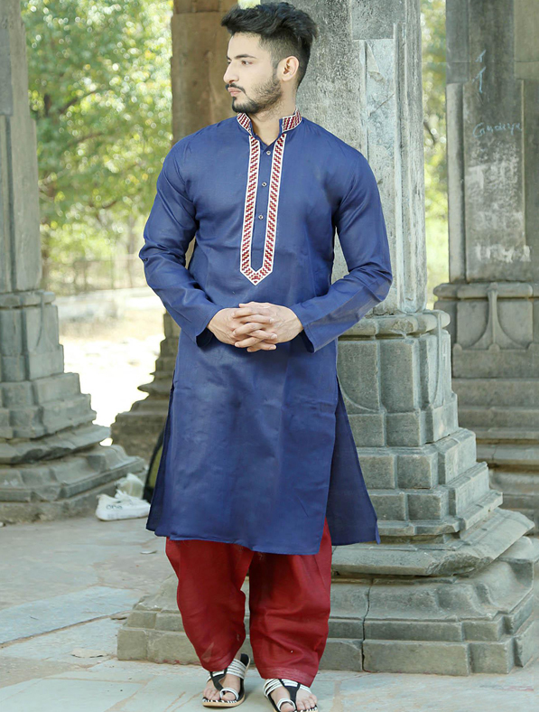 Blue Silk Embroidery Kurta Pajama