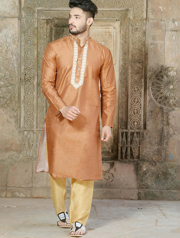 Brown Silk Embroidery Kurta Pajama