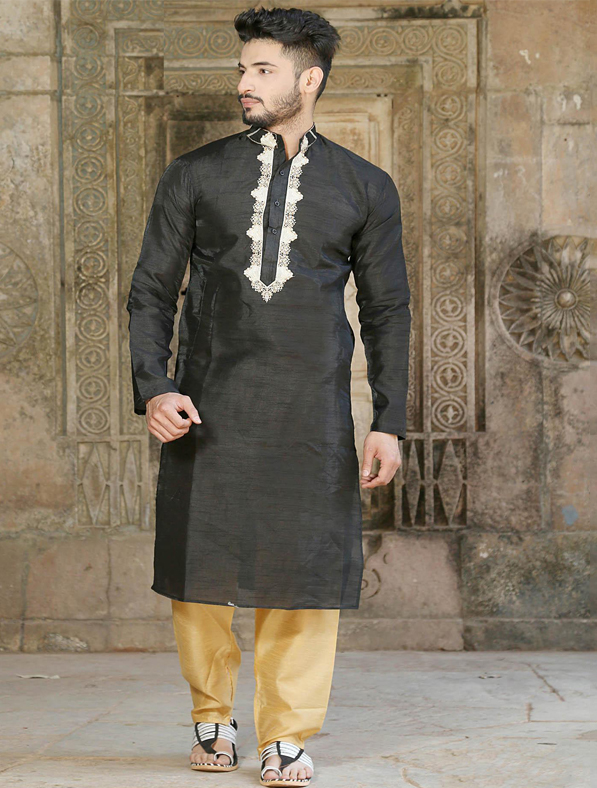 Black Silk Embroidery Kurta Pajama