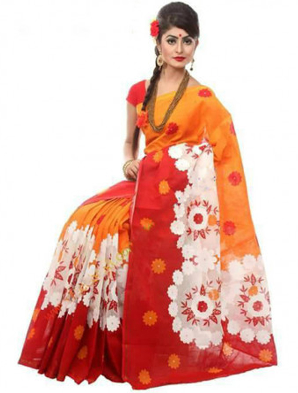 Floral Printed Cota Cotton Saree