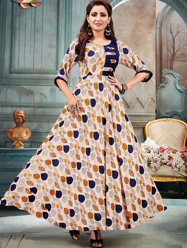 Multicolor Rayon Printed Kurti