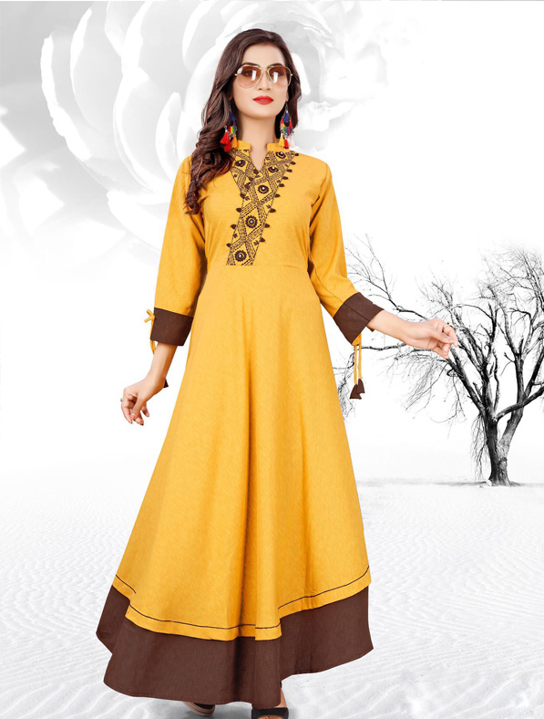 Yellow Cotton Embroideried Kurti