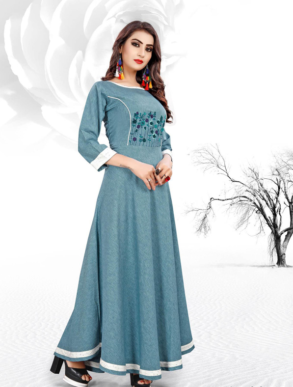 Blue Cotton Embroideried Kurti