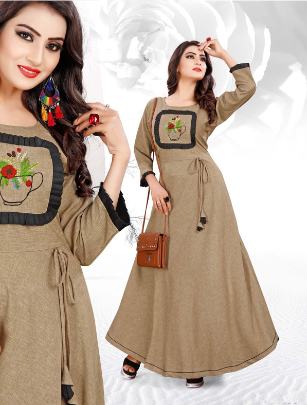 Brown Cotton Embroideried Kurti