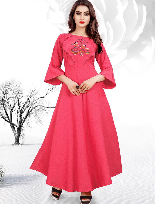 Pink Cotton Embroideried Kurti