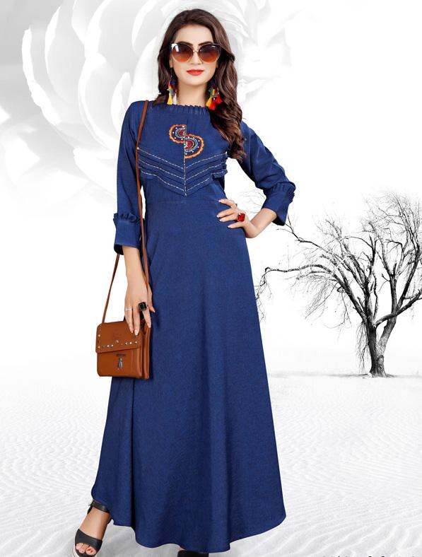 Blue Cotton Embroideried Kurti