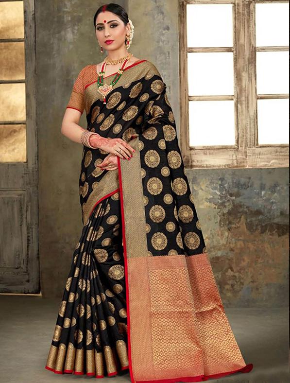 Black Silk Thread Designer Saree