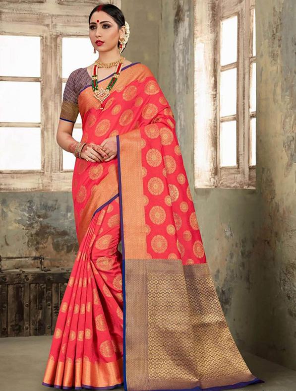 Pink Silk Thread Designer Saree