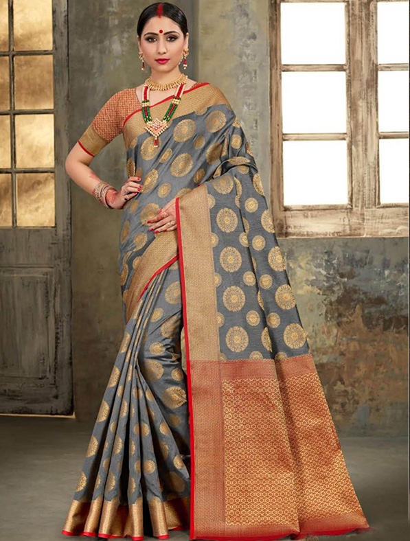 Grey Silk Thread Designer Saree