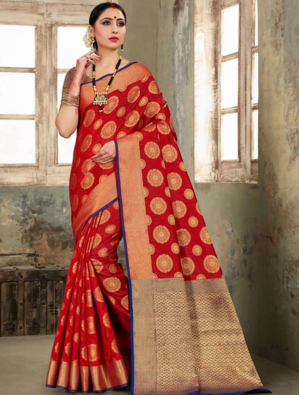 Red Silk Thread Designer Saree