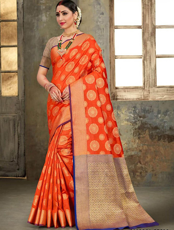 Orange Silk Thread Designer Saree