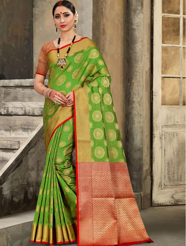 Green Silk Thread Designer Saree