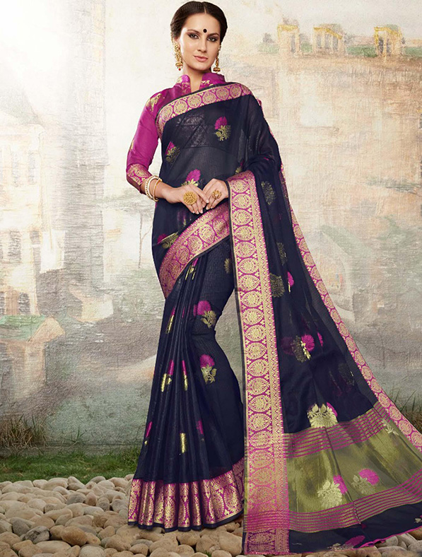 Black Cotton Silk Designer Saree