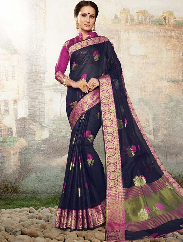Black Cotton Silk Designer Saree