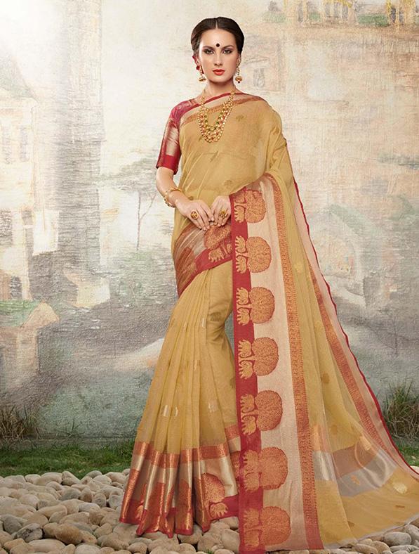 Brown Cotton Silk Designer Saree