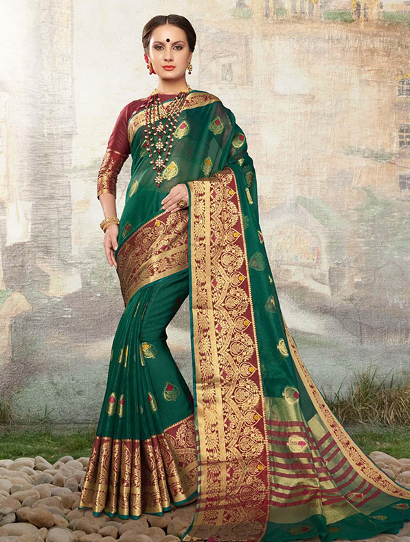 Green Cotton Silk Designer Saree