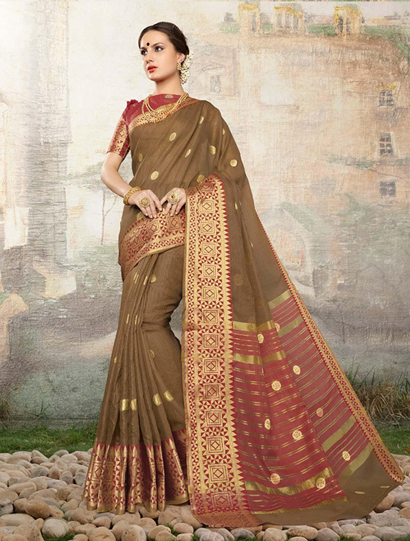 Cotton Silk Designer Saree in Olive