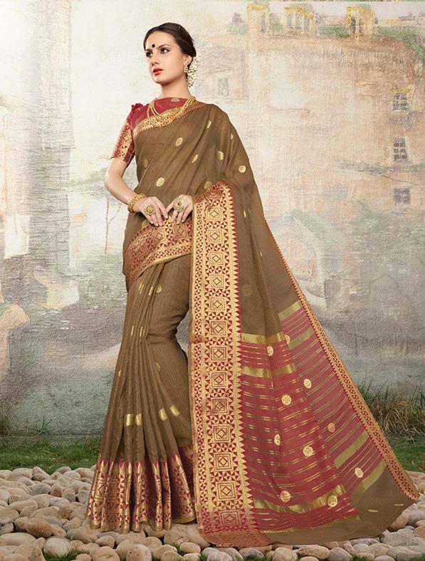 Cotton Silk Designer Saree in Olive