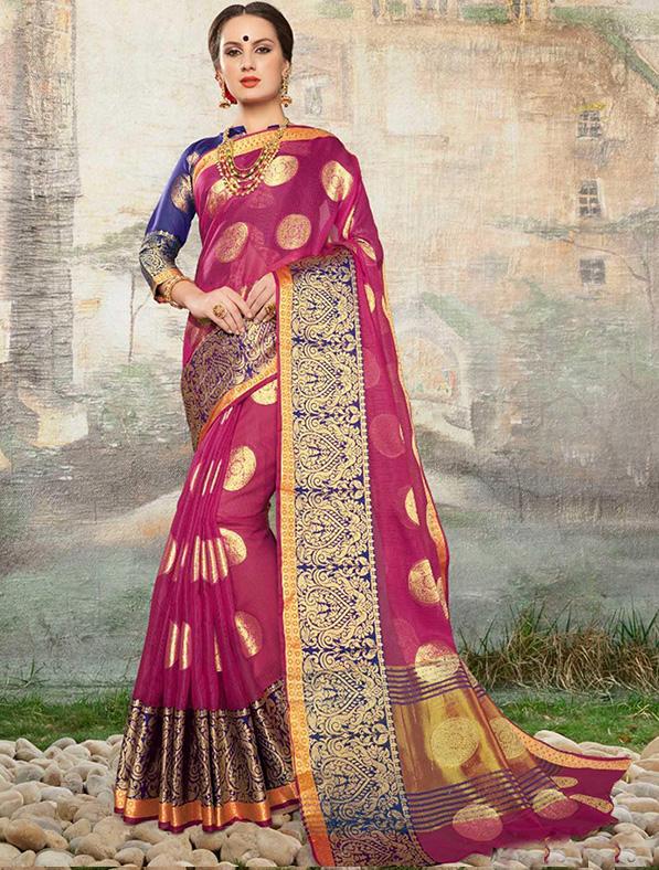 Cotton Silk Designer Saree in Pink