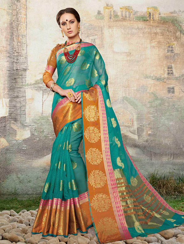 Cotton Silk Designer Saree in Teal