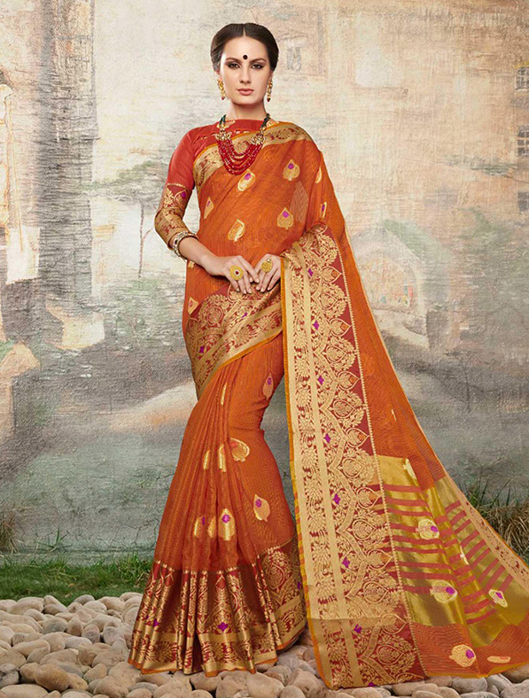Cotton Silk Designer Saree in Orange
