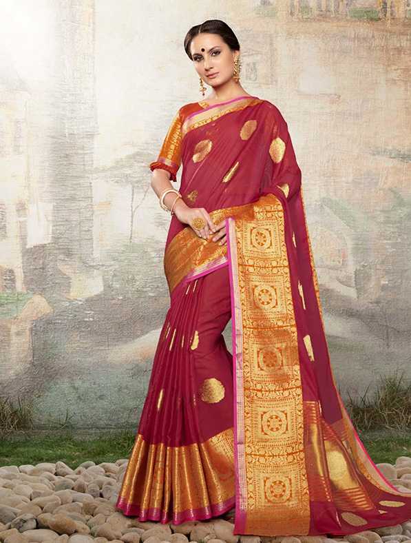 Cotton Silk Designer Saree in Pink