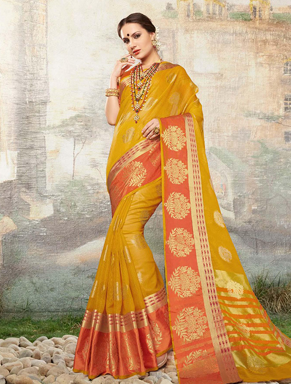 Cotton Silk Designer Saree in Mehandi