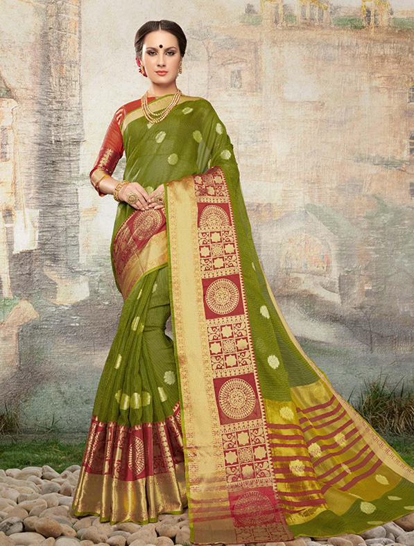 Cotton Silk Designer Saree in Green