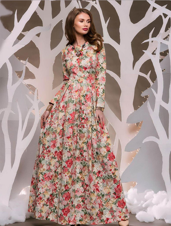 Multicolor Cotton Printed Gown
