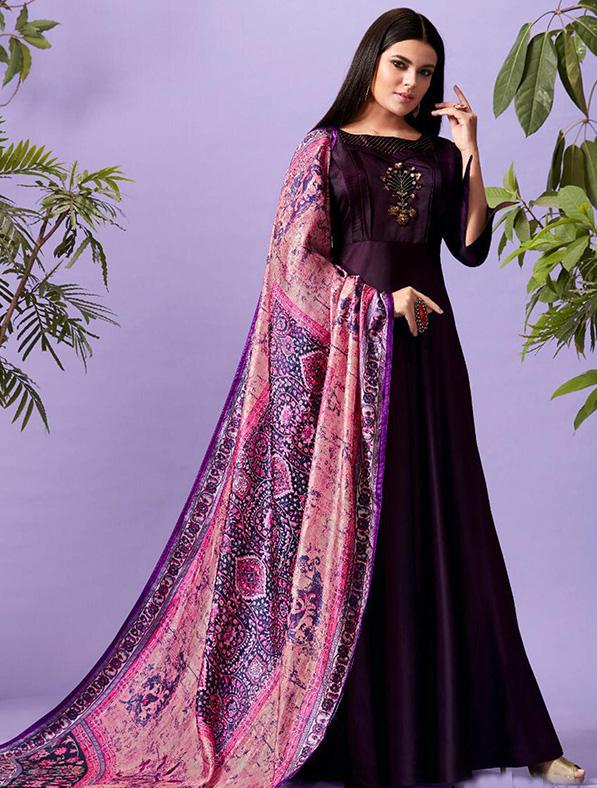 Silk Printed Purple Maxi Kurti