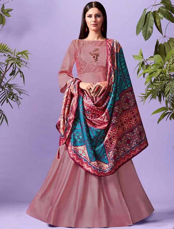 Silk Printed Blush Pink Maxi Kurti