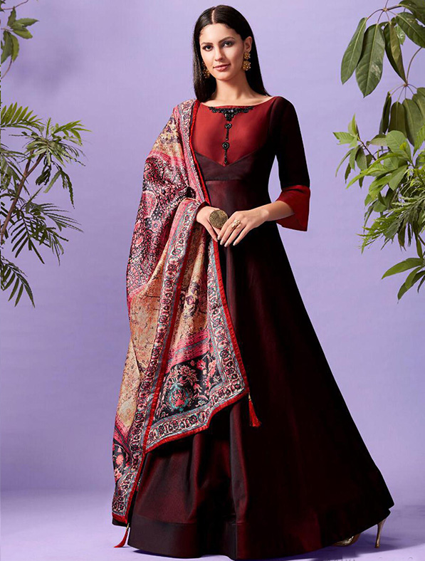 Silk Printed Red Maxi Kurti