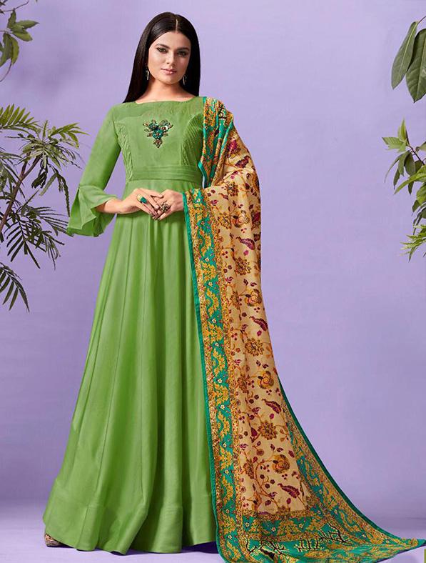 Silk Printed Green Maxi Kurti