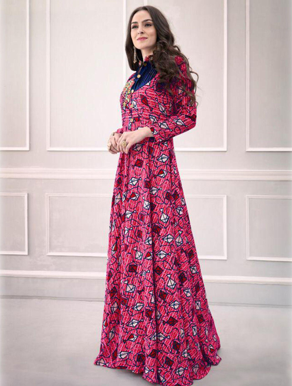 Designer Multicolored Rayon Printed Gown