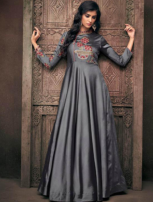 Designer Satin Embroidery Gown