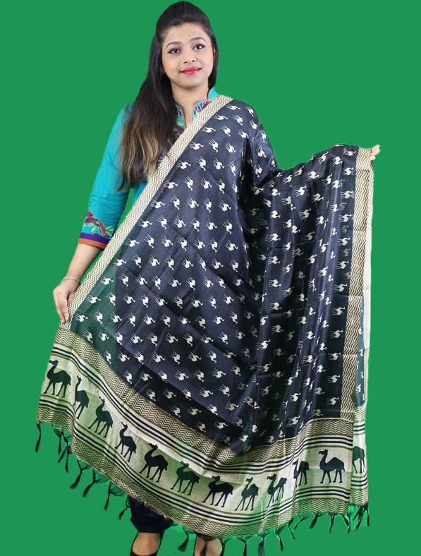 Digital Printed Art Silk Dupatta in Black
