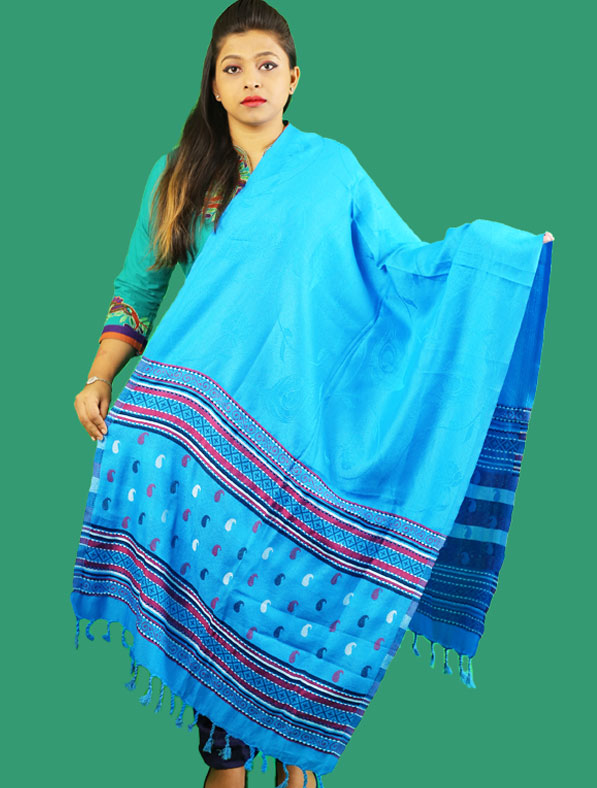 Kasmir Woolen Shawl in Blue Color