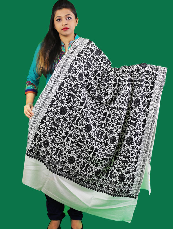 Kasmir Shawl in White Color