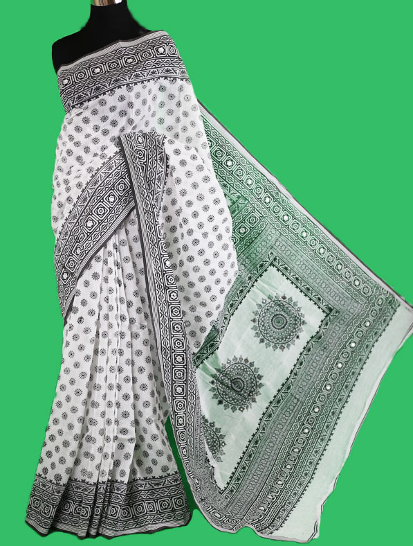 Block Printed Half Silk Saree