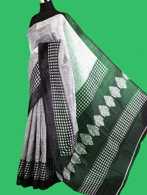 Printed Half Silk Saree