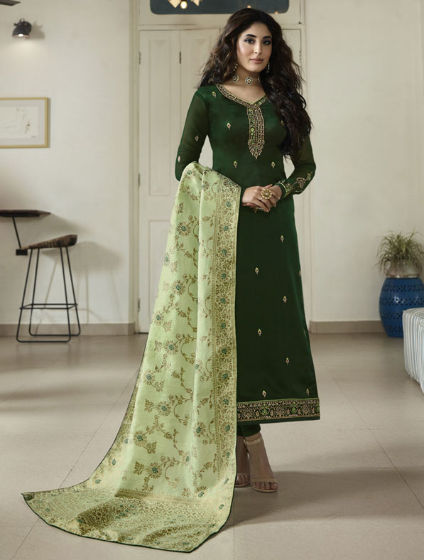 Satin Georgette Suit With Swarovski Work